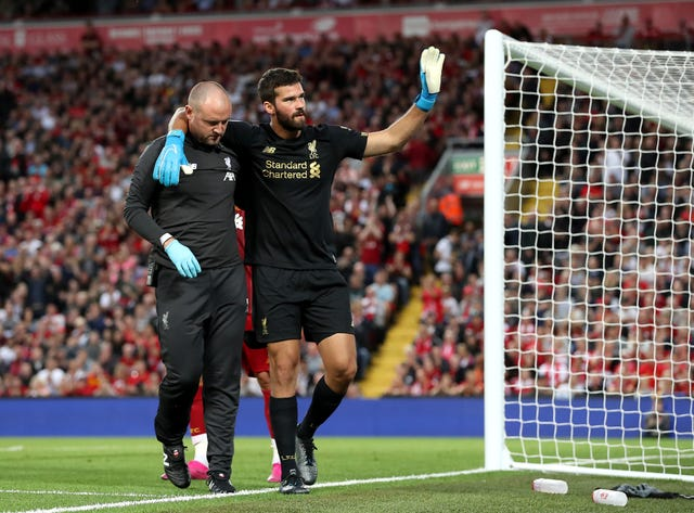 Alisson Becker has been sidelined since the opening day of the Premier League season (Martin Rickett/PA)