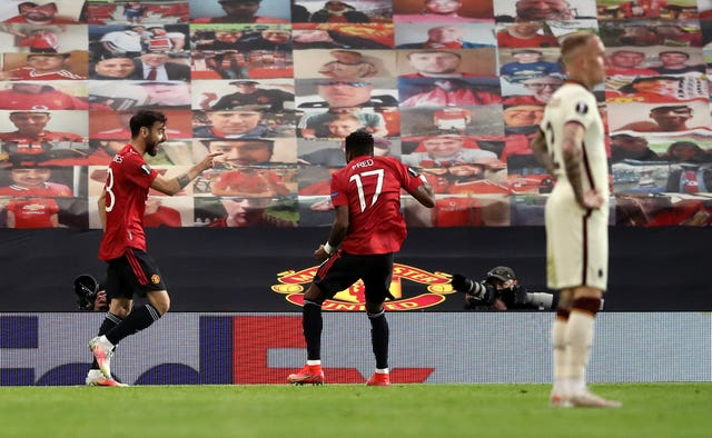 Bruno Fernandes, left, celebrates his opening goal with Fred