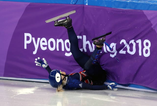 Elise Christie crashed out of the women's 500m final in Pyeongchang on Tuesday