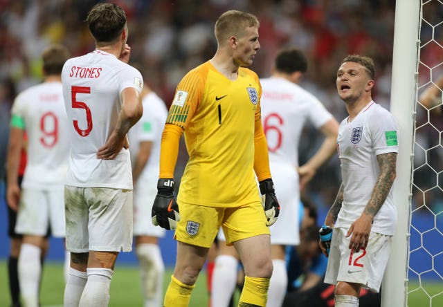 Jordan Pickford in action for England in the World Cup semi-final in July