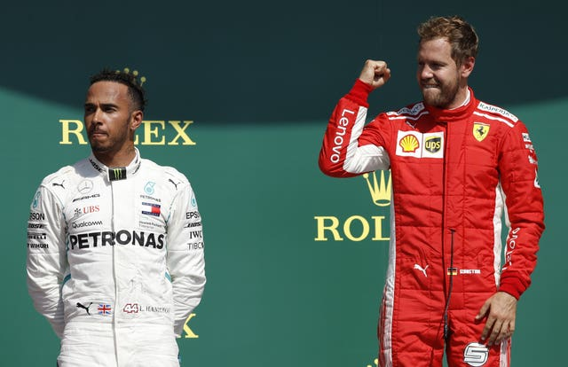 Sebastian Vettel, right, is trailing Lewis Hamilton by 30 points in the title race