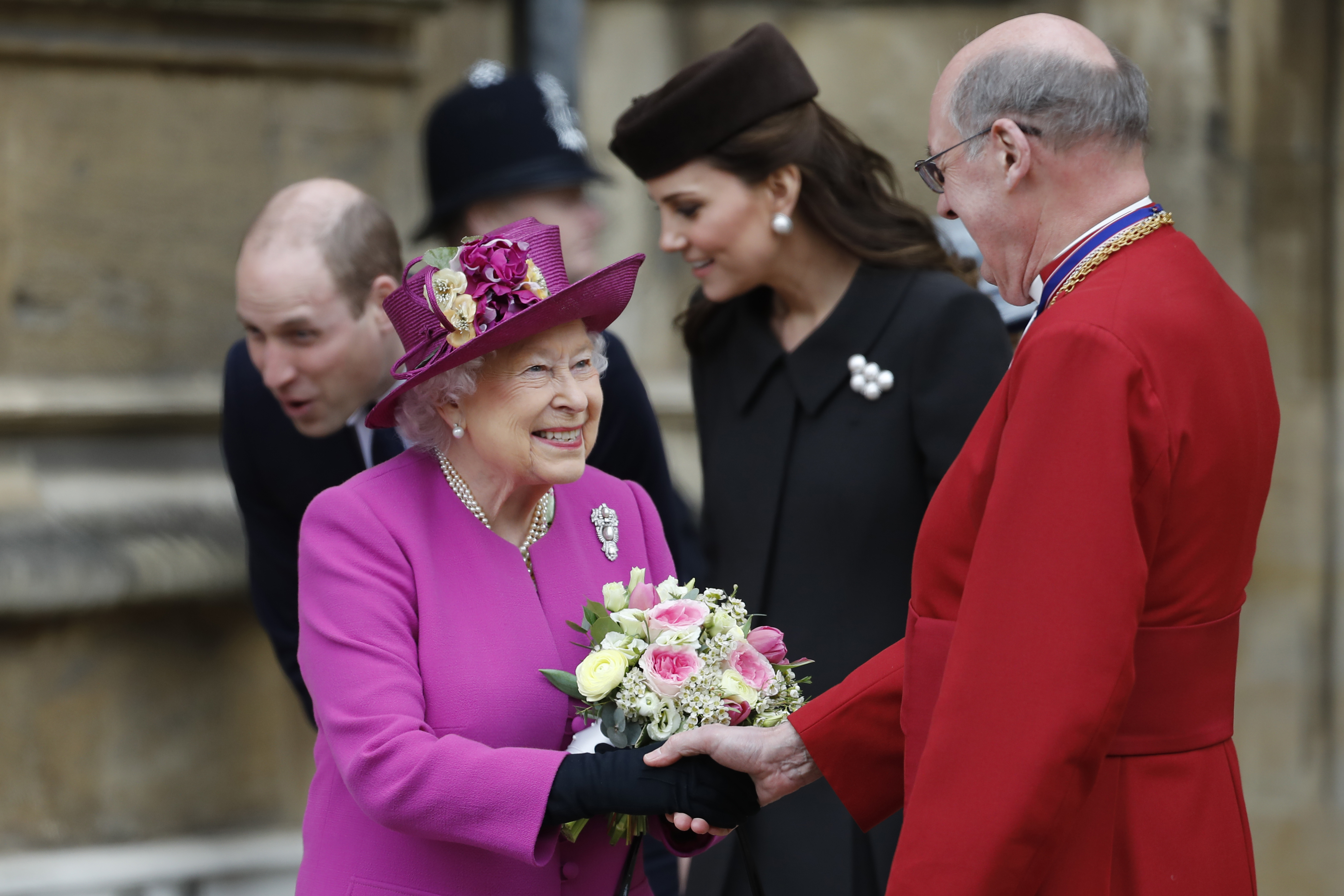 Queen Elizabeth Arrives at Chapel for Easter Service on her 93rd Birthday