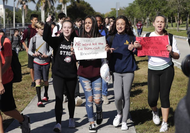 Students from Westglades Middle School support the nationwide protest against gun violence (AP Photo/Lynne Sladky)