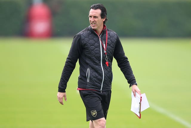 Arsenal manager Unai Emery takes training ahead of their match with Valencia