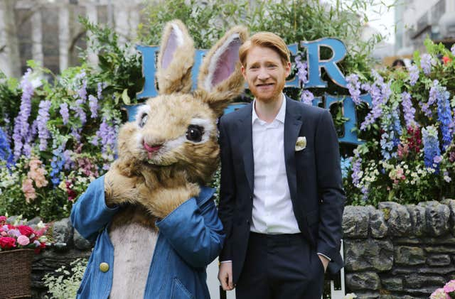 Domhnall Gleeson with a familiar figure, attending the Peter Rabbit UK Gala Premiere at Vue West End in Leicester Square (Rick Findler/PA)