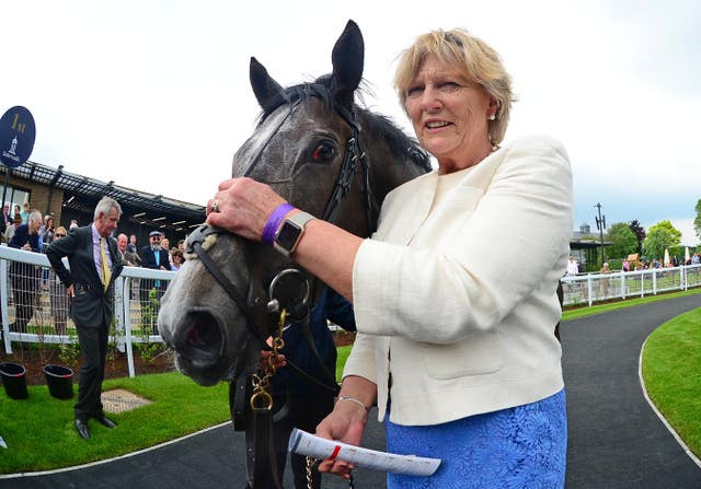 Jessica Harrington with Alpha Centauri after her victory in the Irish 1,000 Guineas