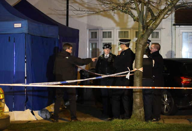An address in New Malden has been sealed off by police (Yui Mok/PA)
