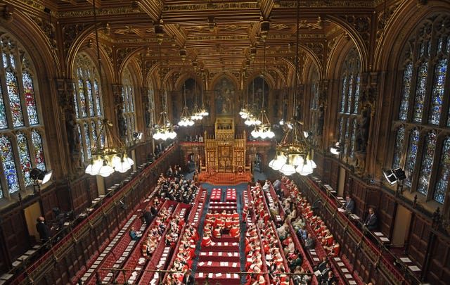 Peers gather in the House of Lords ahead of the State Opening of Parliament
