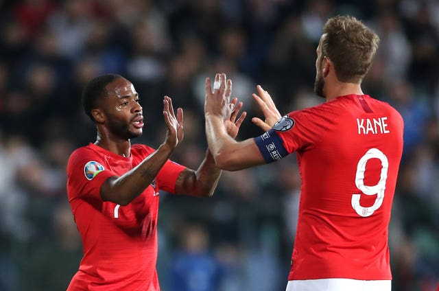 Raheem Sterling, left, celebrates with Harry Kane after scoring against Bulgaria