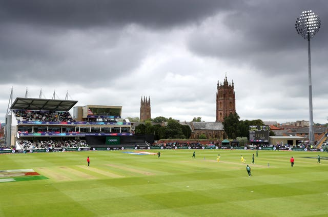 Dark clouds gather over the County Ground in Taunton