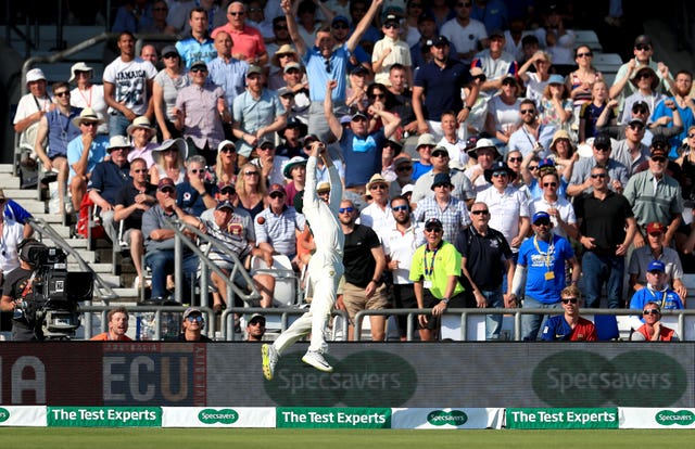 Marnus Labuschagne can't take the catch which would have ended the game as Ben Stokes hits another six