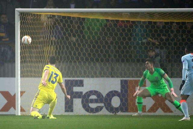 Nikolai Signevich missed a chance for BATE