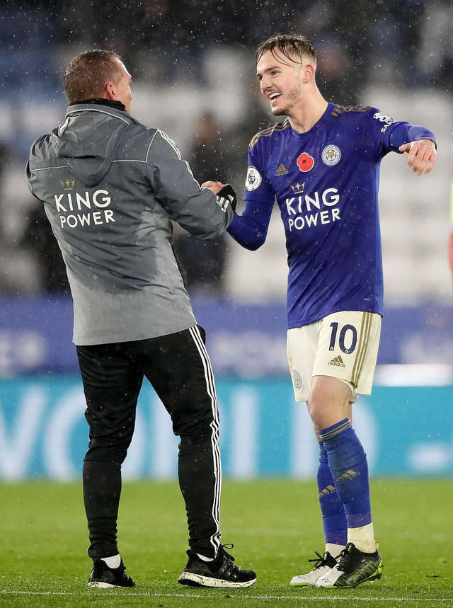 Brendan Rodgers (left) and James Maddison