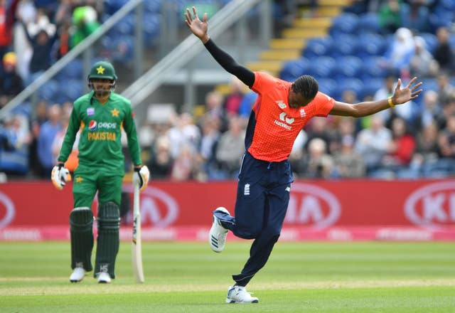 Jofra Archer during celebrates taking the wicket of Pakistan's Imam-ul-Haq
