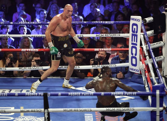 Fury, left, overcame Deontay Wilder in February (Bradley Collyer/PA)