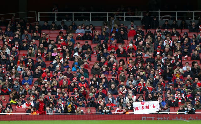 There were plenty of empty seats as Arsenal hosted Watford in the Premier League on Sunday