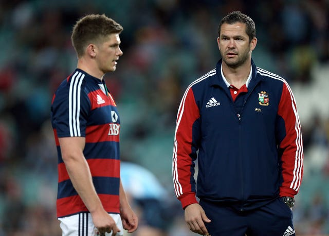 Andy Farrell, right, has worked with his son Owen with the British and Irish Lions