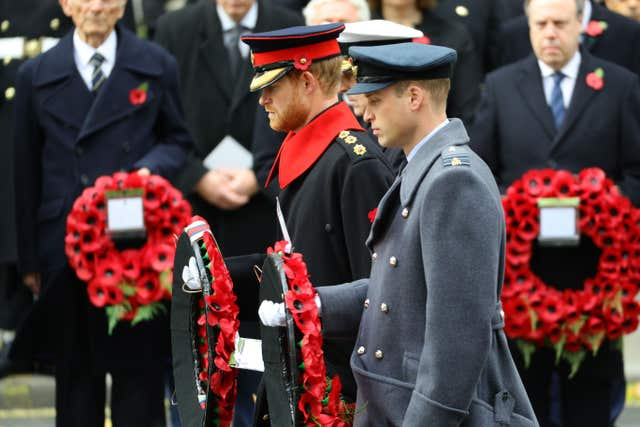 Prince Harry and the Duke of Cambridge at the Cenotaph in 2017 (Harland Quarrington/MOD Crown Co/PA)