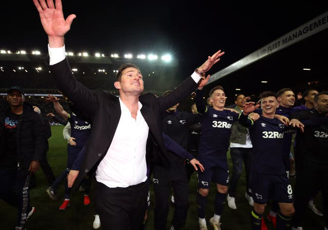 Frank Lampard and Derby his team celebrate victory