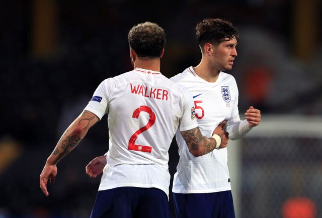 Kyle Walker (left) and John Stones formed part of England's defence at the World Cup (