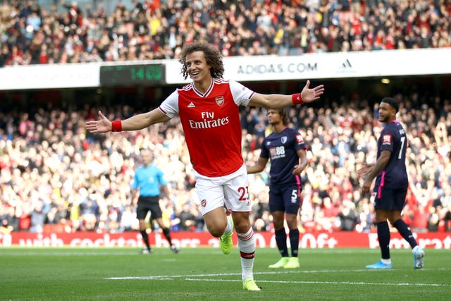 Defender David Luiz scored his first Arsenal goal, which was enough to beat Bournemouth at Emirates Stadium.
