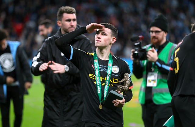 Phil Foden with his man of the match trophy
