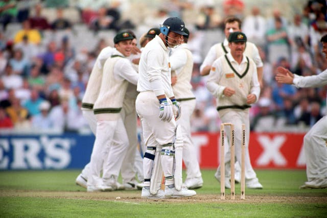 Mike Gatting was bowled by Shane Warne