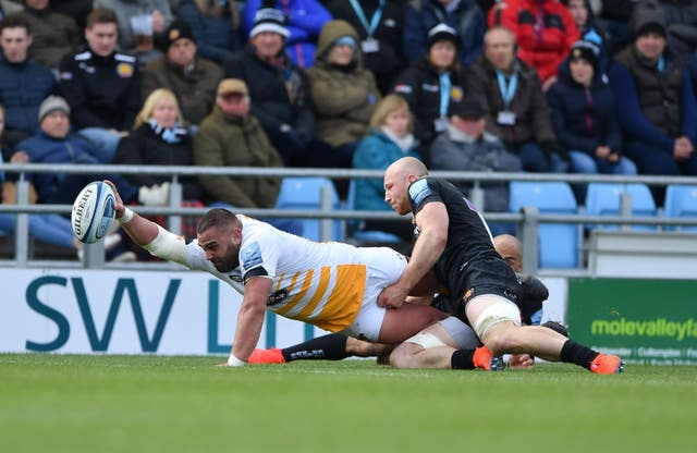 Wasps' Zurabi Zhvania scores a try in his side's 26-19 win at Exeter