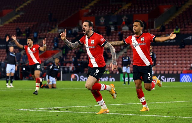 Southampton's Danny Ings reacts after he scores but it is ruled out after a VAR check
