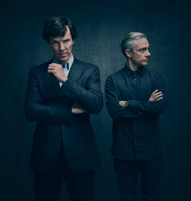 Sherlock Holmes played by Benedict Cumberbatch (left) and Dr John Watson played by Martin Freeman (BBC/PA)