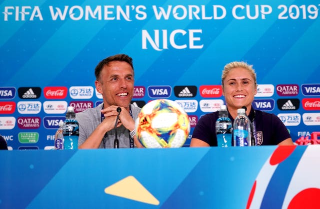 Phil Neville and Steph Houghton face the media ahead of England's Women's World Cup opener