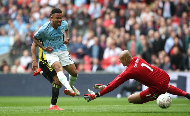 Gabriel Jesus scores in Manchester City's FA Cup final win over Watford