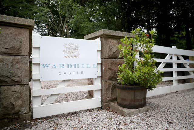 The main entrance to Wardhill Castle in Aberdeenshire