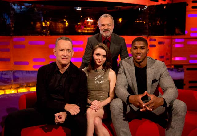 Tom Hanks, Maisie Williams, host Graham Norton and Anthony Joshua on The Graham Norton Show (Isabel Infantes/PA)
