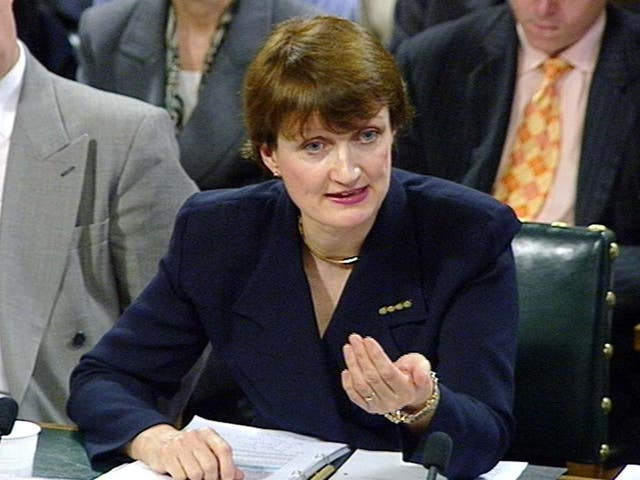 Public Health Minister Tessa Jowell presenting evidence on public health to the select committee at the House of Commons in 1997 (PA)