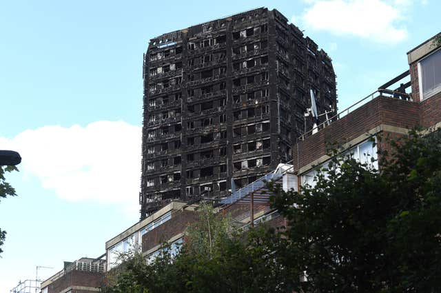 The blackened shell of Grenfell Tower in west London (Lauren Hurley/PA)