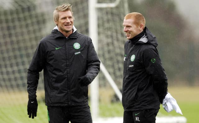 Johan Mjallby (left) was Lennon's assistant for four years during the Northern Irishman's first spell in charge of Celtic
