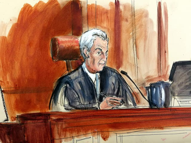 In this courtroom drawing, Judge Richard Berman sentences Ahmad Rahim (Elizabeth Williams via AP)