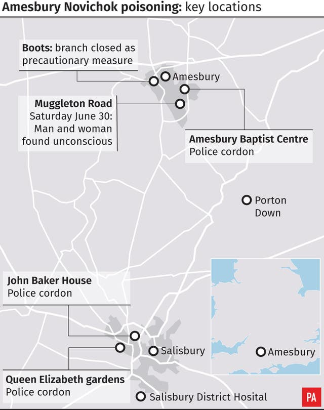 Amesbury Novichok poisoning – key locations.