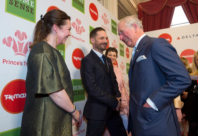 The Prince of Wales meeting celebrity ambassadors (left to right) Olivia Colman, Tom Hardy and Helen McCrory at the Prince's Trust Awards