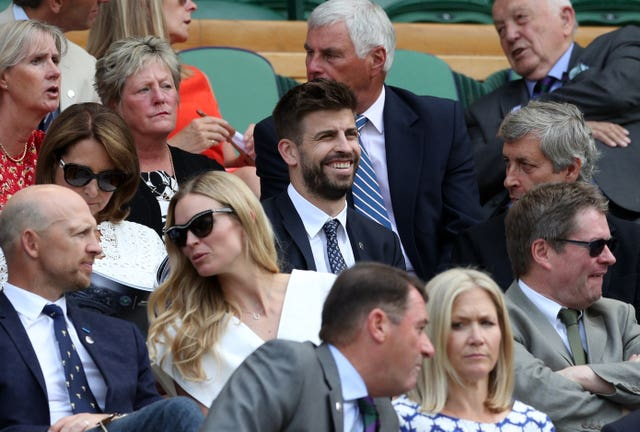 Gerard Pique, centre, pictured in the Royal Box at Wimbledon in 2018