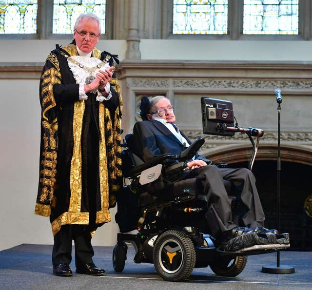 Professor Stephen Hawking receives the Honorary Freedom of the City of London (Dominic Lipinski/PA)