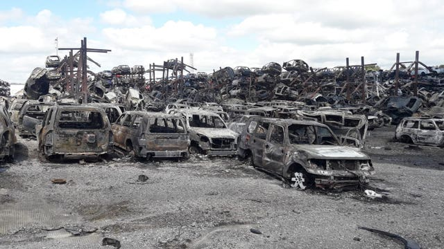 Around 900 cars were damaged during the blaze on Friday night (South Yorkshire Fire and Rescue/PA)