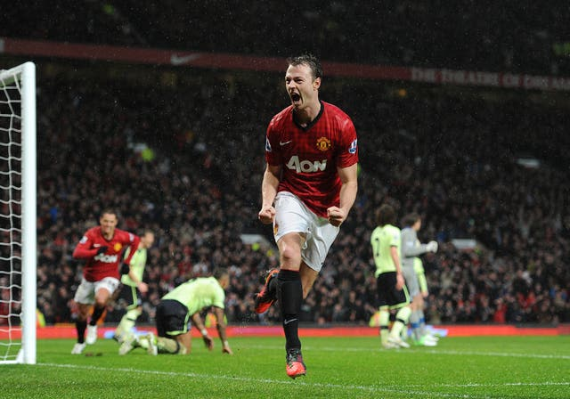 Manchester United's Jonny Evans celebrates scoring his side's first goal of the game