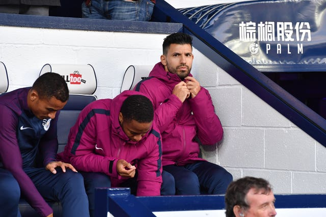 Manchester City's Sergio Aguero on the bench during the Premier League match against West Brom