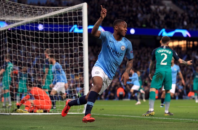 Sterling wheels away after turning in Kevin De Bruyne's drilled cross. It's now 3-2 to City on the night, with Spurs in front on away goals