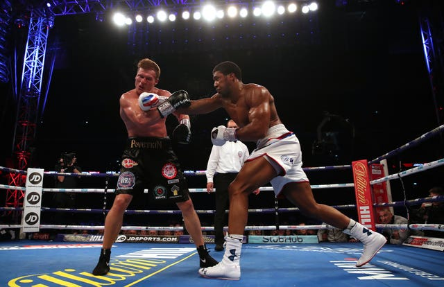 Anthony Joshua stepped it up in the seventh round and knocked his opponent down