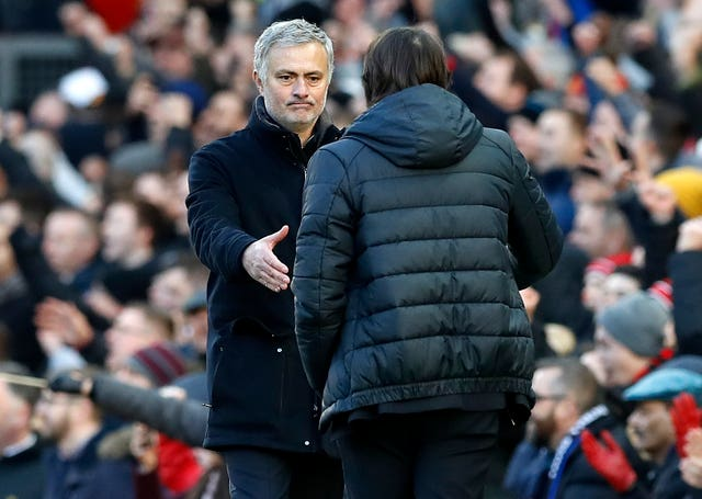 Chelsea manager Antonio Conte and Manchester United boss Jose Mourinho shake hands