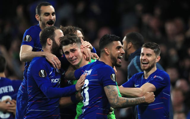 Kepa Arrizabalaga made two saves as Chelsea beat Eintracht Frankfurt on penalties