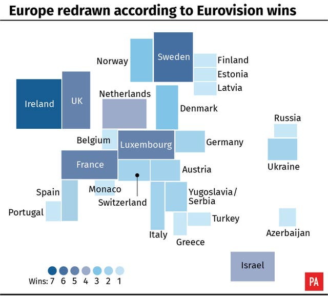 Europe redrawn according to Eurovision wins